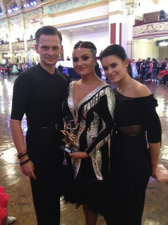Wojtek and Karen with Caroline - winner in both styles !