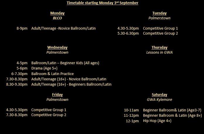 September timetable
